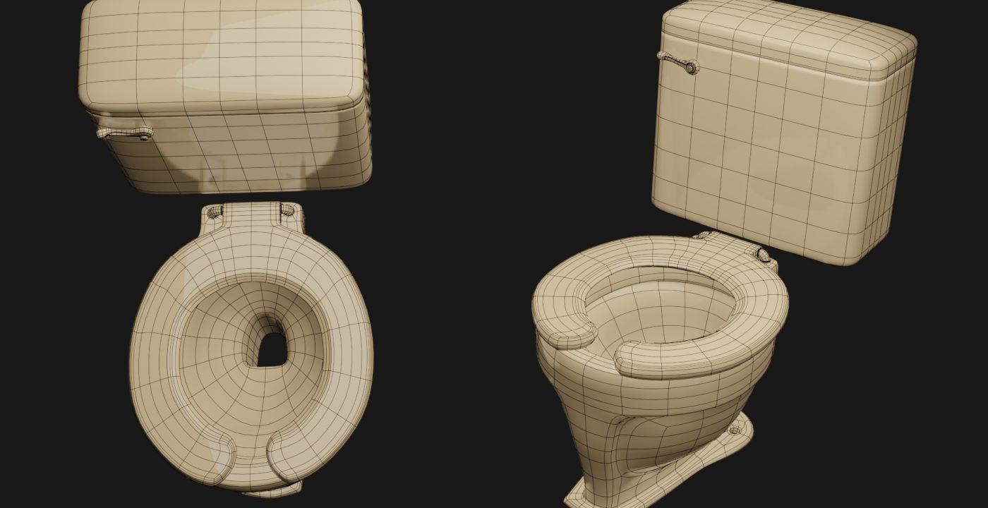 Wireframe de WC modelado con subdivisión