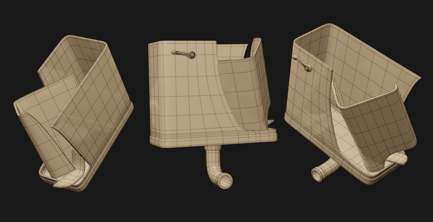 Wireframe de Tanque WC modelado con subdivisión